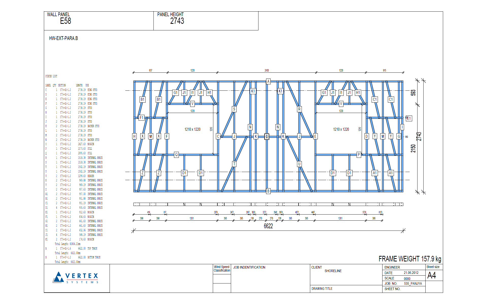 Vertex BD Cold-Formed Steel Panel Drawing