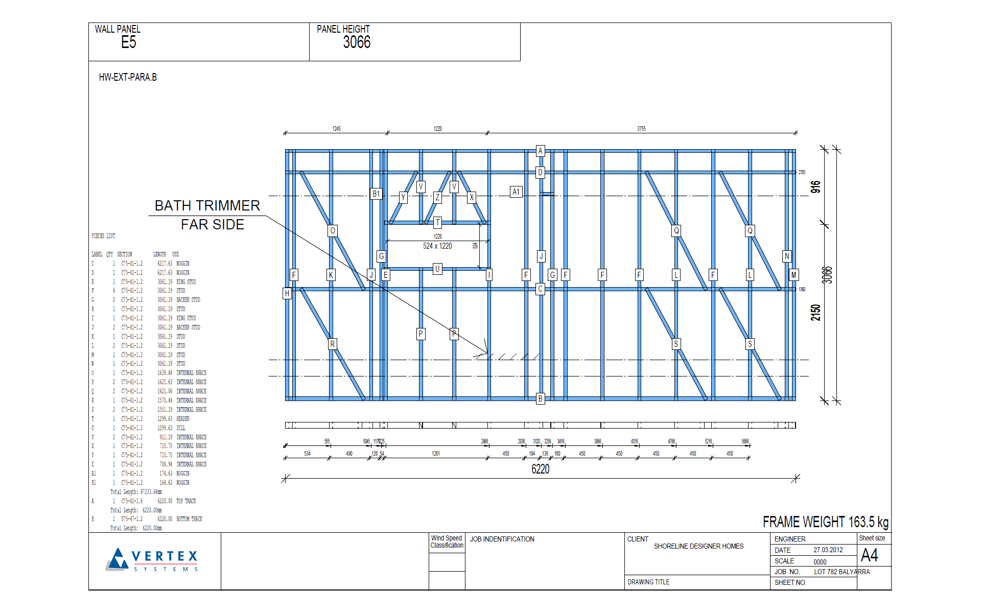 Vertex BD Cold-Formed Steel Panel Drawing