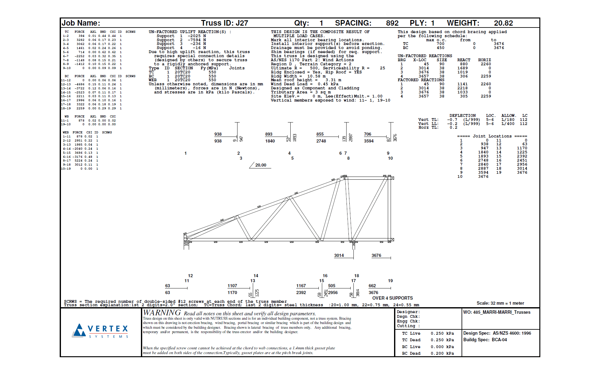 Vertex BD Cold-Formed Steel Truss
