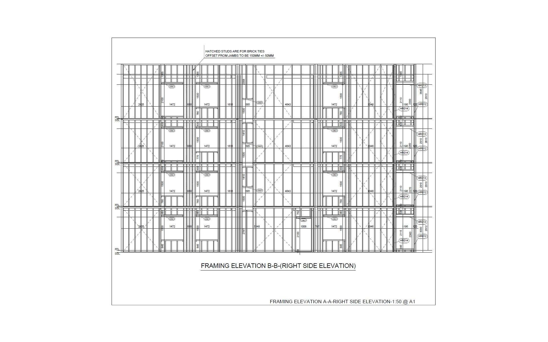 Vertex BD Cold-Formed Steel Framing Elevation Drawing